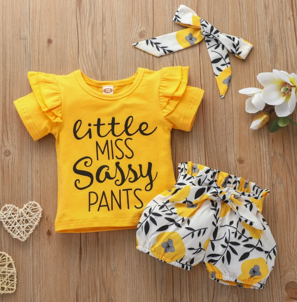 Cute Letter Printed Yellow T-shirt and Floral Shorts Set