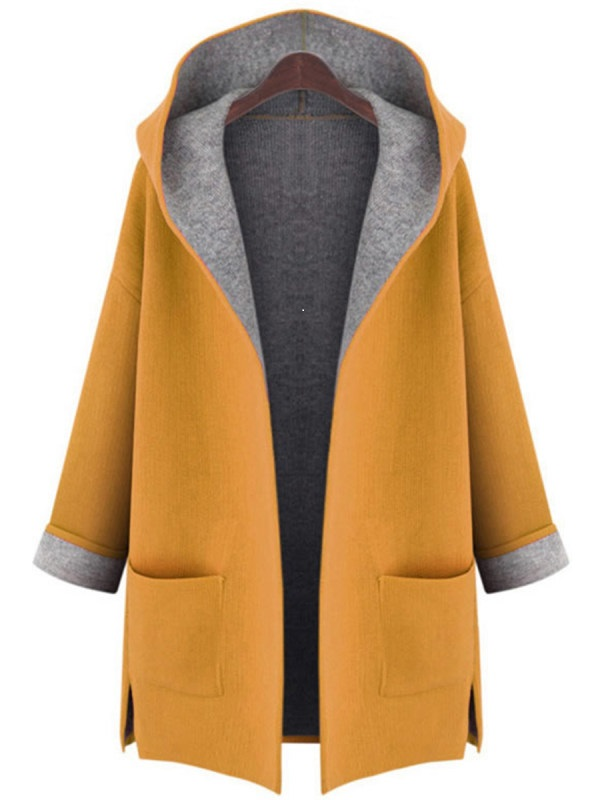 Hooded Patch Pocket Woolen Coat